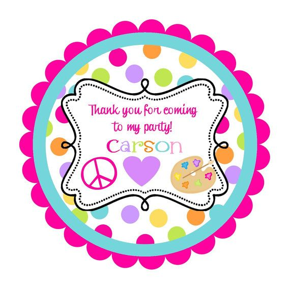 Peace love painting party round labels stickers for party favors gift tags or address labels