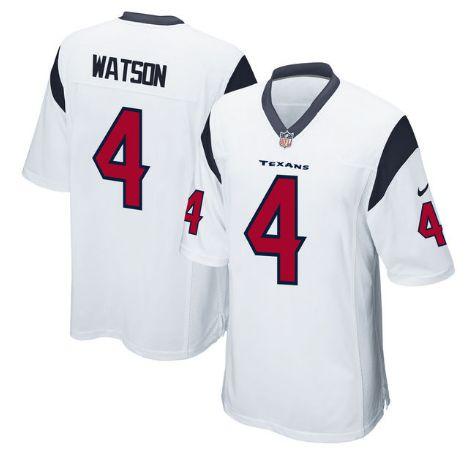 Men's Houston Texans #4 Deshaun Watson White Nike NFL Elite Jersey