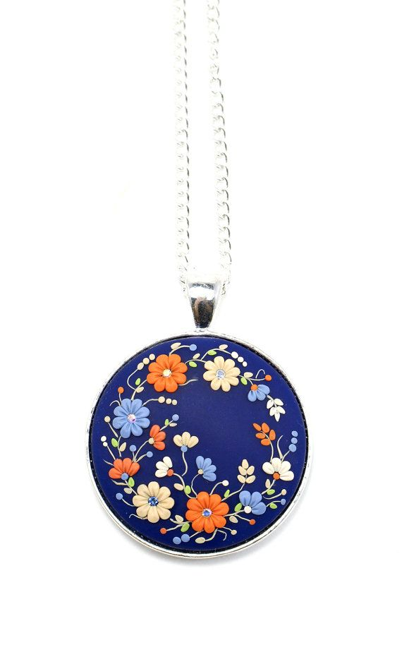 "Floral Necklace ""In the Garden"" Floral Embroidery Polymer Clay Applique Blue Orange Pendant Swarowski Crystals Floral Jewelry on Etsy, $70.00"
