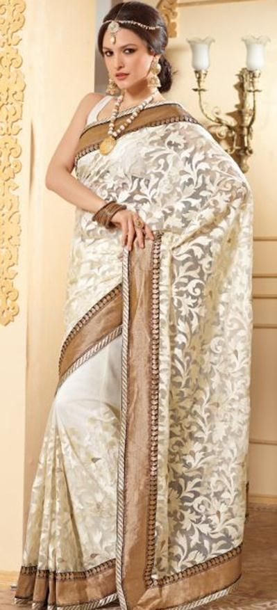 $104.2 Off White Net Party Wear Saree 23092