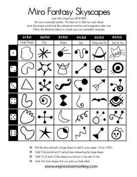 Use this dice drawing sheet to create a Miro Skyscape. Make this a fun addition to your study of the surrealist painter Joan Miro.