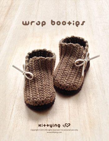Patrón Crochet abrigo del bebé Botines Botas recién por meinuxing