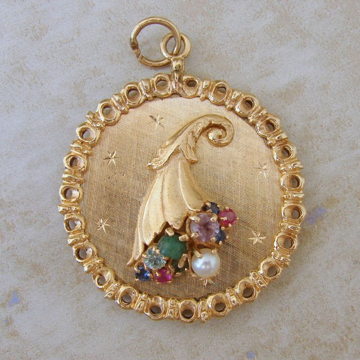 Antique Gold Charm Bracelet: 14K Gold Large Cornucopia Thanksgiving Bracelet Charm