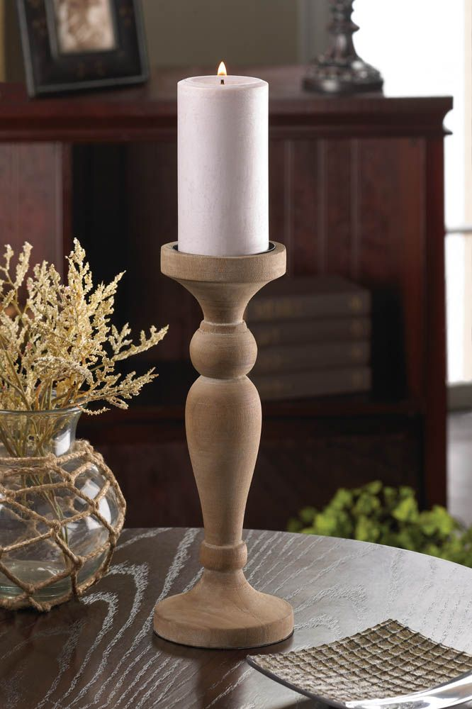 Turned Wood Candlestick for Pillar Candle: Artisan Wooden Candle Holder