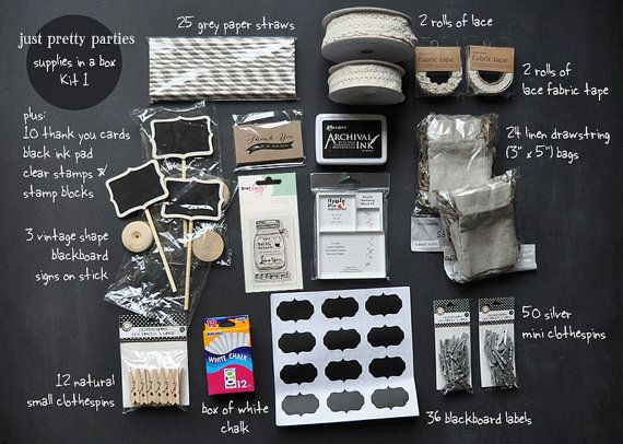 Diy party supplies in a box  kit 1  vintage theme ... lace and chalkboards by justprettyparties, $86.00