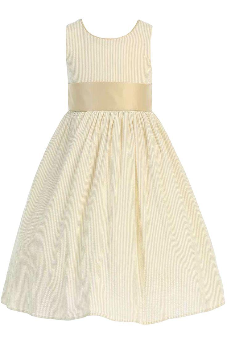 Khaki Tan Striped Cotton Seersucker Dress with Poly Silk