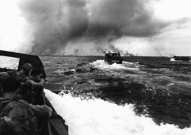 The 1st Marine Division advances on Peleliu.