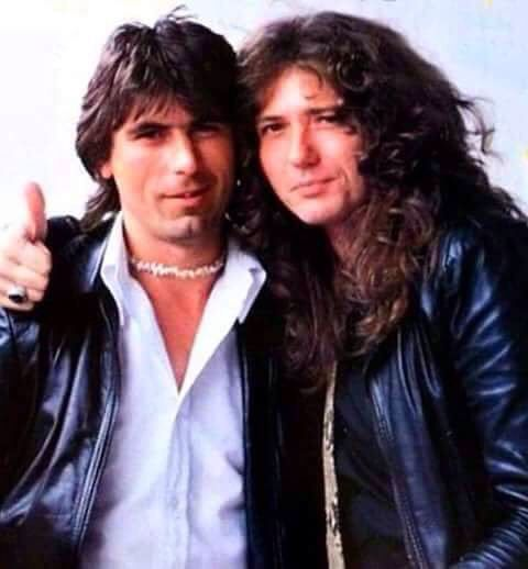 David Coverdale with Cozy Powell (possibly the best of all rock drummers)