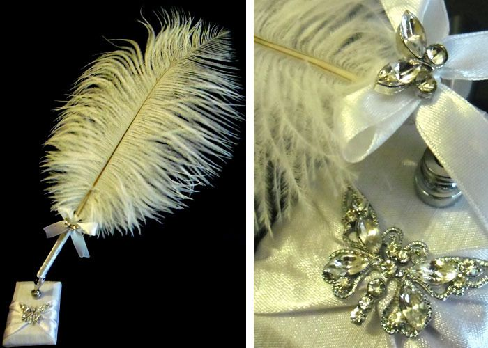 Quill (Feather Pen) -White with Diamante Butterflies