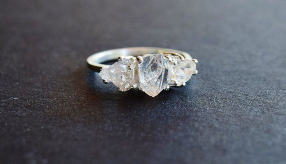 3 Stone Raw Diamond Handmade Engagement Ring Rough by Avello