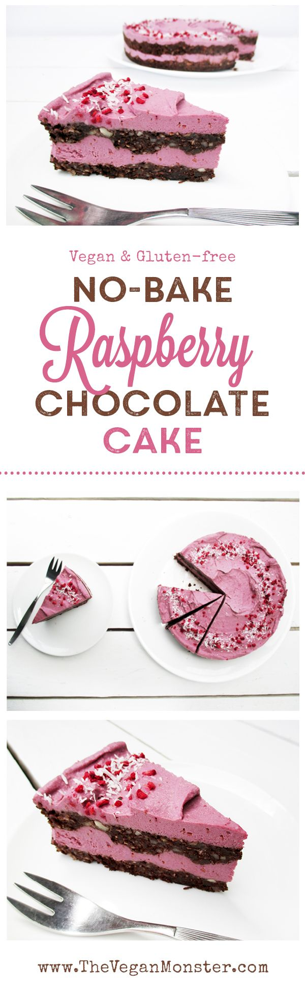No Bake Chocolate Raspberry Cake. Vegan, Gluten-free, No refined Sugar.