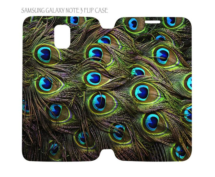 Samsung Galaxy Note 3 Flip Case Folio Cover Beautiful Peacock Feathers #QuinnCafe