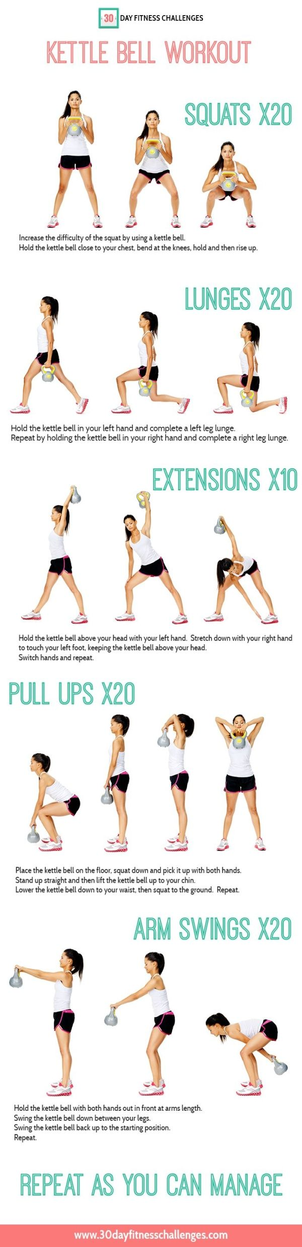 30 day Kettle Bell Workout Challenge Chart by lucile