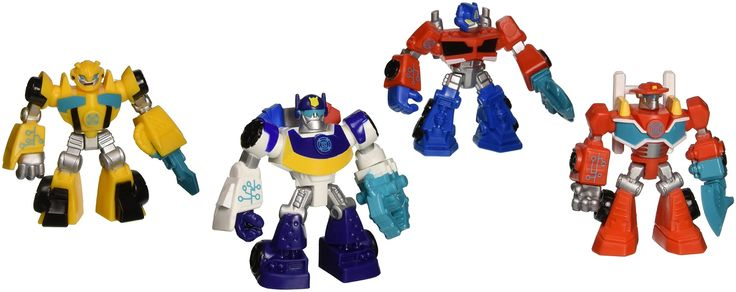 Playskool Heroes, Transformers Rescue Bots Figures, Set of 4: Optimus Prime, Bumblebee, Heatwave the Fire-Bot, and Chase the Police-Bot, 3.5 Inches. Playskool Heroes, Transformers Rescue Bots Figures, Set of 4: Optimus Prime, Bumblebee, Heatwave the Fire-Bot, and Chase the Police-Bot, 3.5 Inches These items do not transform.