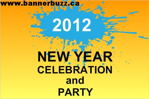 New Year Celebration Party Banner. Personalize new year banner online from www.bannerbuzz.ca