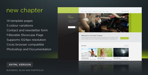 New Chapter Site Template (5 Themes)   http://themeforest.net/item/new-chapter-site-template-5-themes/142313?ref=damiamio           New Chapter is a template design best suited for corporate and creative businesses. The template comes with 15 HTML and 2 PHP files (contact and newsletter form). 15 Template files:    Home page   Static page   Static page – Full width   Showcase Page   Showcase Page – Single (Lightbox)   Case Studies Page   Case Studies Page – Single   Clients Page   Blog…