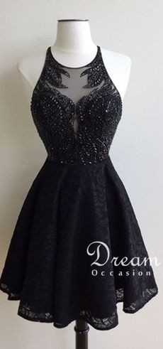 Glamorous Jewel Short Black Lace Homecoming Dress with Beading Backless…