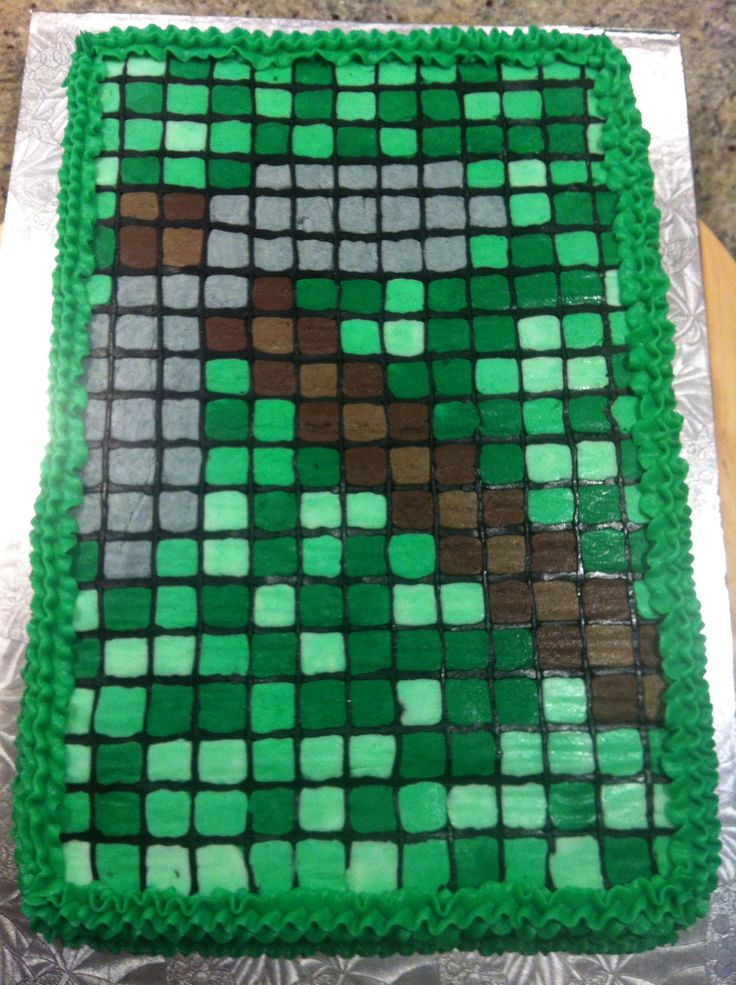 Minecraft buttercream icing transfer cake