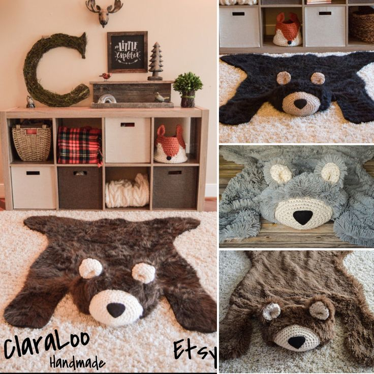 Woodland nursery baby bear rugs! By ClaraLoo I can't decide if this is cute or scary...