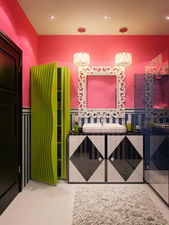 Интерьер ванной комнаты - Дизайн интерьера квартиры в стиле Поп-арт Энди Уорхола
