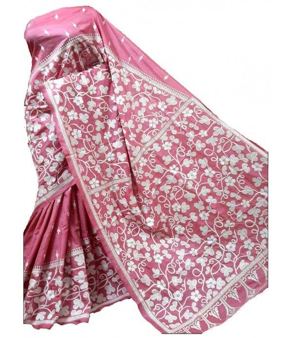 Pink Kantha Silk Stitch Saree