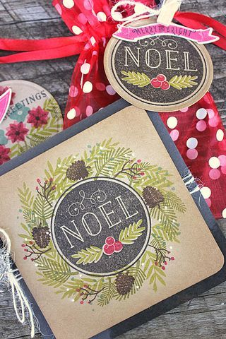 Noel Wreath Card and Tag by Heather Nichols for Papertrey Ink (September 2014)
