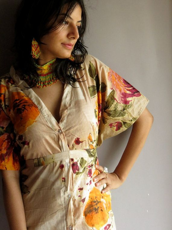 Beige Floral front button closure kaftan robe by silkandmore, $35.00