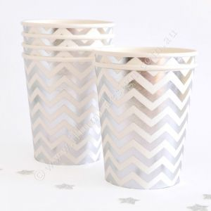 Let's Party With Balloons - Illume Design Silver Chevron Paper Cups, $12.00 (http://www.letspartywithballoons.com.au/illume-design-silver-chevron-paper-cups/?page_context=category