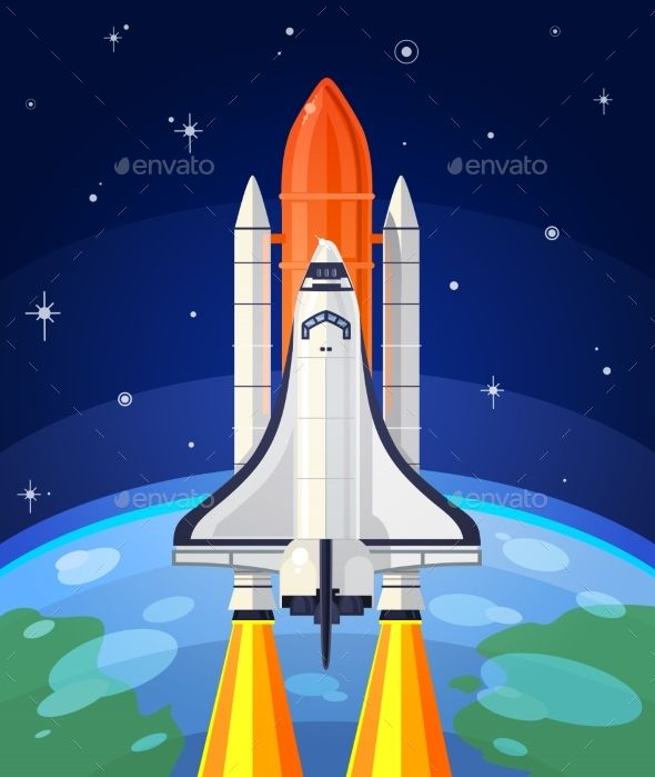 Vector Illustration of a Space Rocket Launch