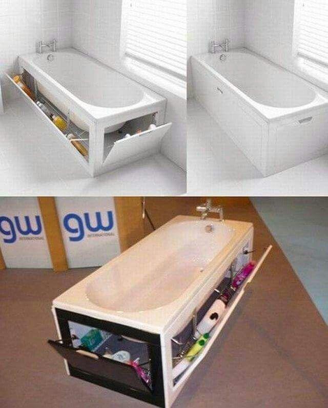 Stauraum für kleine Bäder: ganz einfach die Badewanne nutzen!