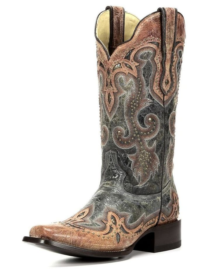 Women's Black/Cognac Overlay Boot - Square toe G1Complementary to most outfits in any season, these are fabulous must haves! Corral Boots are handcrafted by the finest leather craftsmen in Leon, Mexic