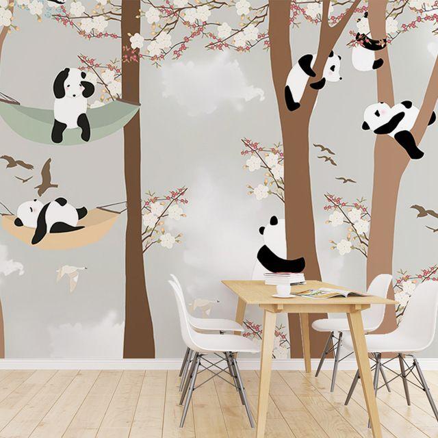 Livraison Gratuite Enfants de chambre papier peint garçons et filles chambre de bande dessinée papier peint mignon panda grande fresque papier peint
