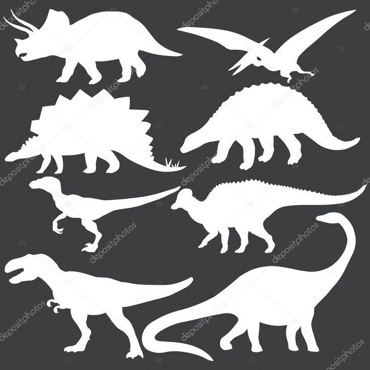 Laden Sie lizenzfreie Vektor-Reihe von weißen Dinosaurier Silhouetten Stockvekt…