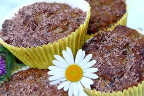 Kürbiskern-Muffins (mit Protein-Kürbiskernmehl & viel Zartbitter-Schokolade)