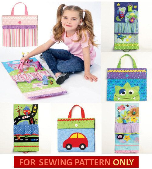 Sewing Pattern to Make Fun Travel Play Mats for Special Kids! Sewing Patterns included for: 111/2W. x 101/2 play mats in four styles Car