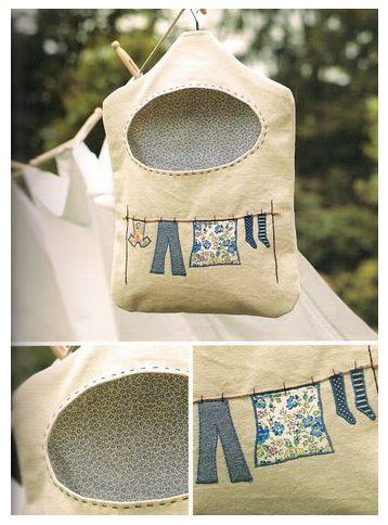 Sweet pouch for holding clothespins // hamoraima: Bolsa de tela para las pinzas