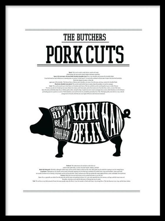 Styckningsschema på gris 'The Butchers Pork Cuts'. Snygg och modern poster som passar utmärkt i köket tillsammans med vår beef cuts poster eller wine guide plansch. Snygga kökstavlor och affischer till kök.