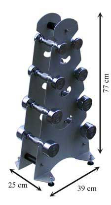 Juego de mancuernas de 1 a 4 kg. con soporte metálico