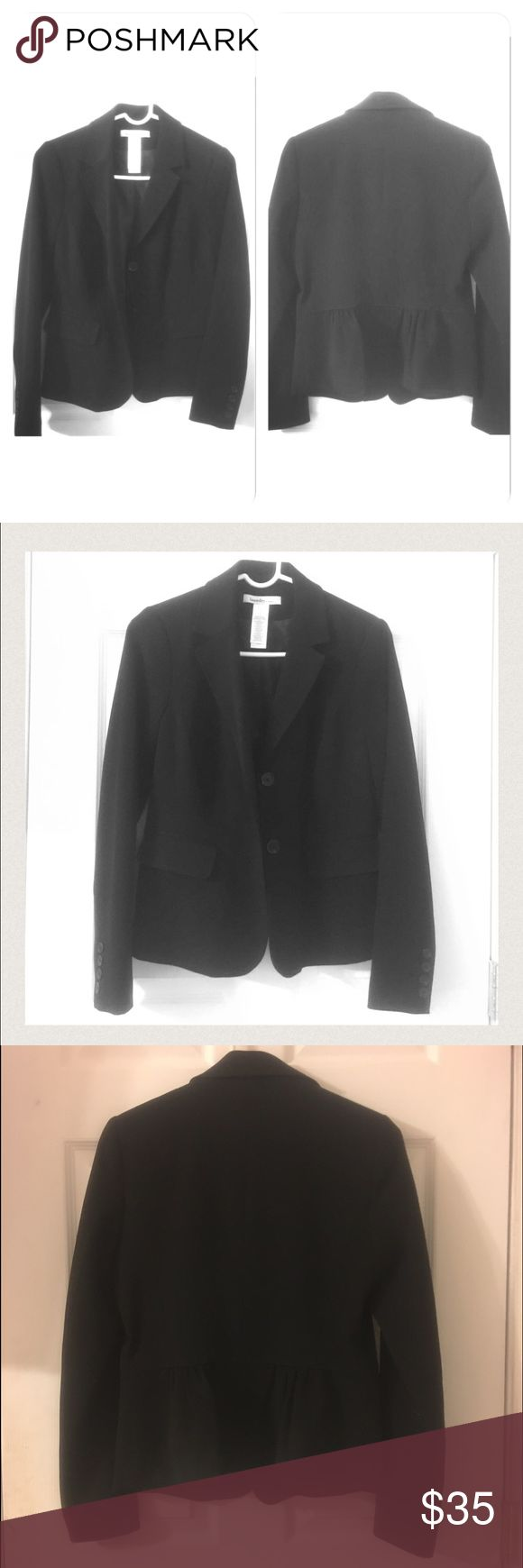 Cute & unique Black Suit Jacket size 6 worn once! Really nice women's suit jacket size 6. Worn once for an interview! The back is very cute and unique ruffled slightly. Jackets & Coats Blazers