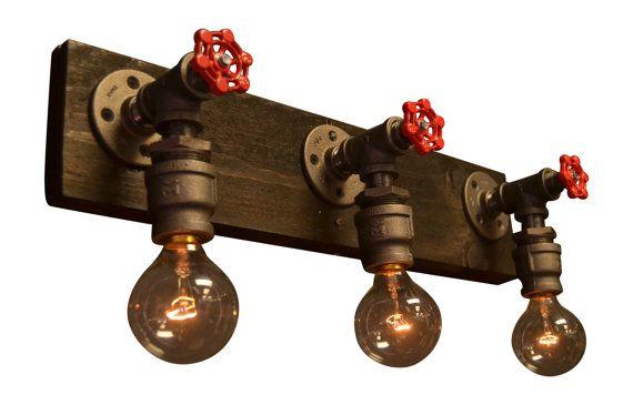 Industriel chic - luminaire salle de bain - lumière maison - meuble industriel…