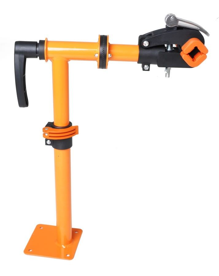The Conquer bench mounted bike repair stand is an economical way to work on your bike(s). The 360 ° swivel head allows you to work on your bike at virtually any angle.  The offset base plate allows for ample room to spin your pedals. The height is adjustable with a quick release clamp which also allows you to turn the stand when not in use.