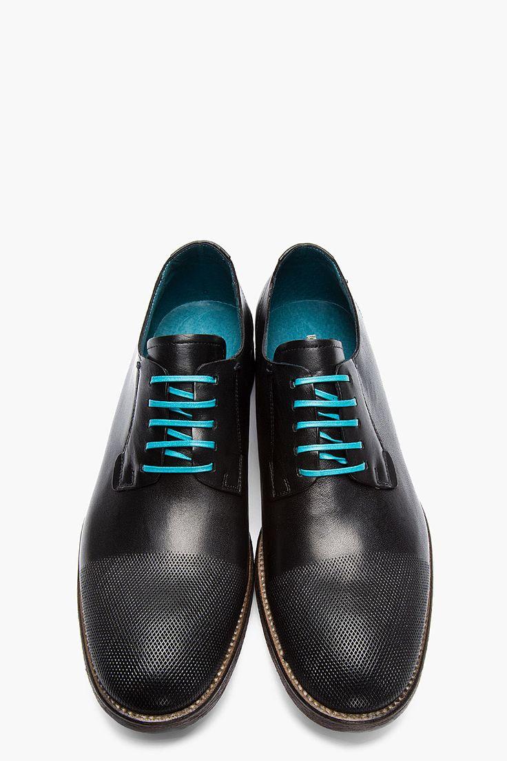 DIESEL Black Leather Micro-Perforated Iridium Shoes