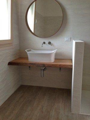 Mensola piano lavabo da bagno in legno massello l 140 p45 for Mensola lavabo ikea