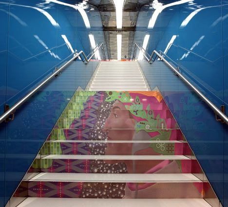 Staircase at the University of Naples subway station in Naples, Italy newly renovated by New York designerKarim Rashid