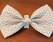 Cat or Dog Bow Tie - Gray Chevron