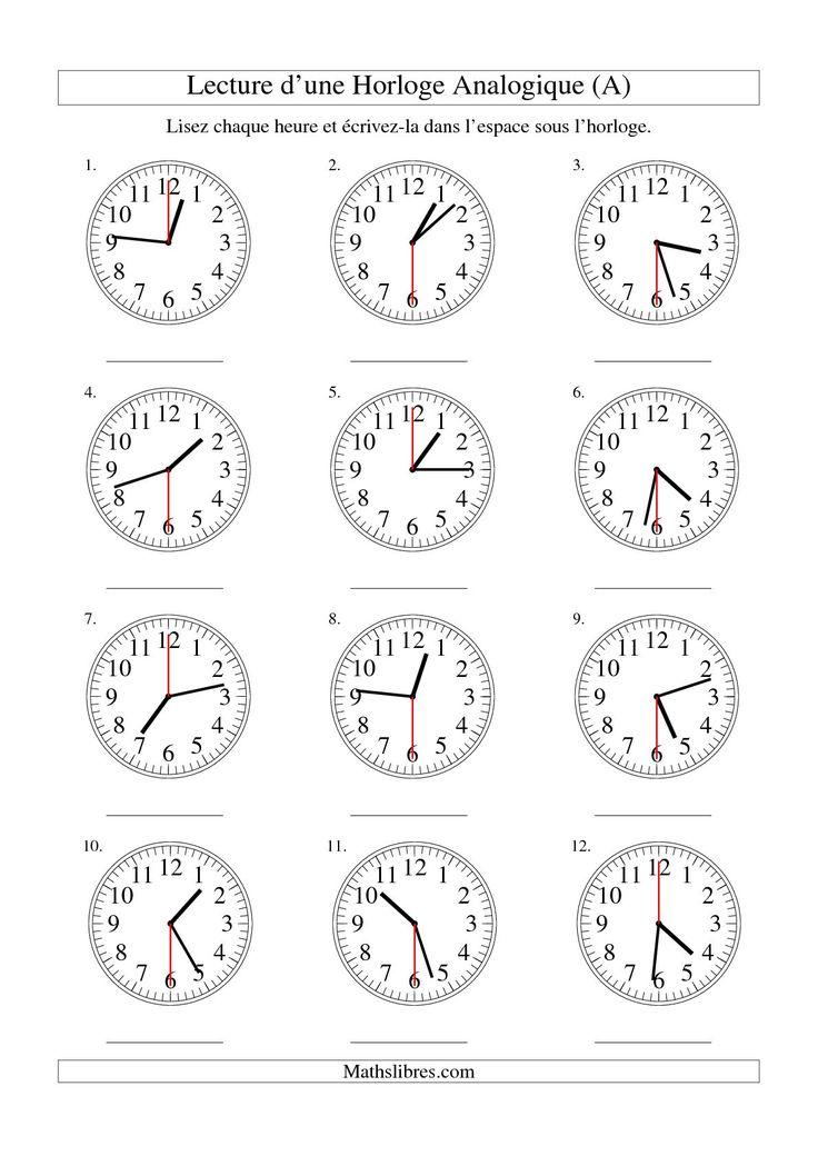 The Lecture de l'Heure sur Une Horloge Analogique avec 30 Secondes d'Intervalle (A) Fiche d'Exercices sur le Temps