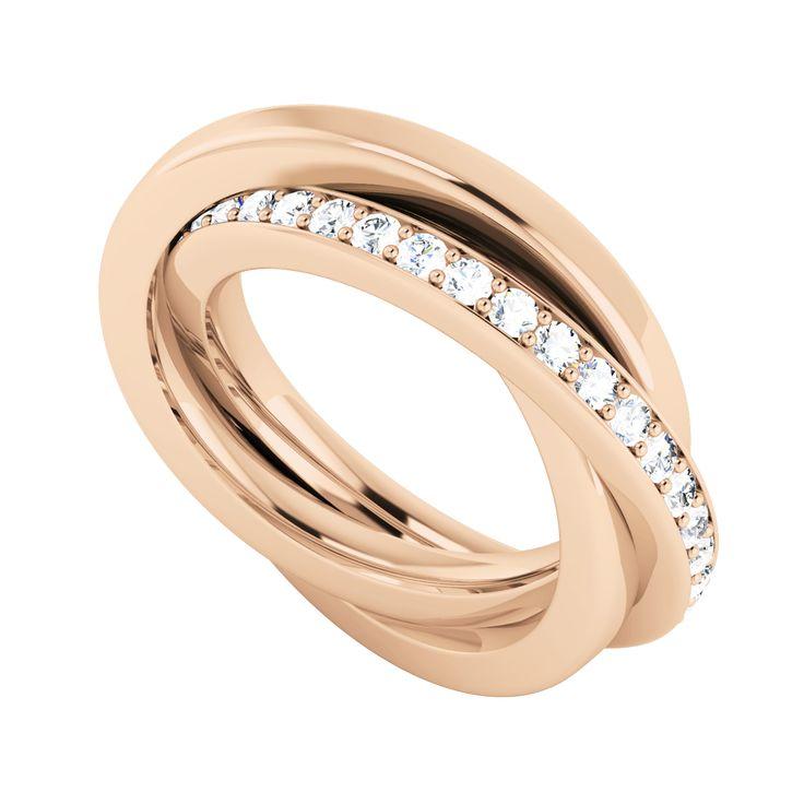 Stunning Diamond Russian Wedding Ring In 9ct Rose Gold From Stylerocks
