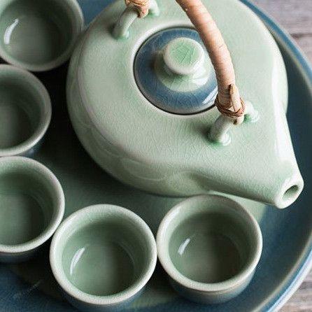 Celadon Ceramic Tea Set for Five – Yoga International