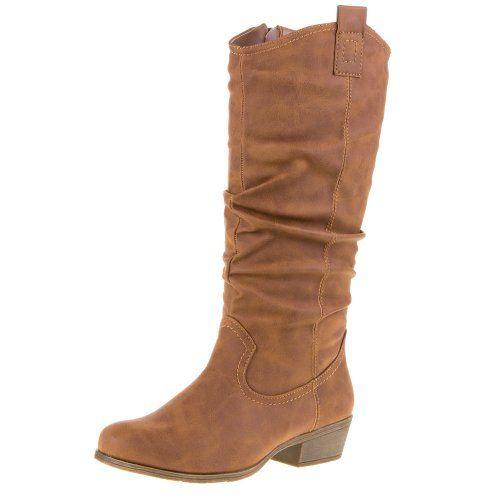 Damen Schuhe, STIEFEL, WESTERN STYLE BOOTS WARM GEFÜTTERT, 328-26B, Synthetik in hochwertiger Leder Optik, Braun, Gr 38 Ital-Design