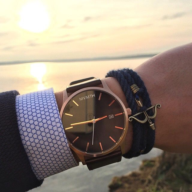 Sunset o'clock with our Rose Gold x Brown Leather Men's Watch.
